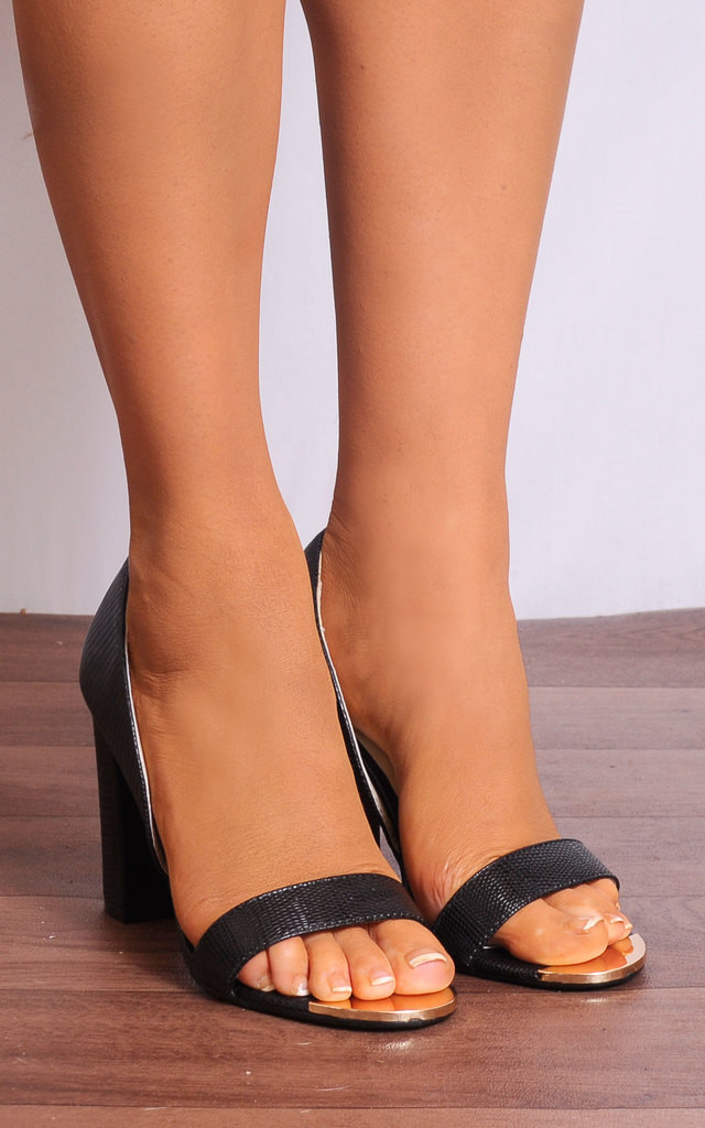 Black Peep Toes Strappy Sandals High Heels by Shoe Closet