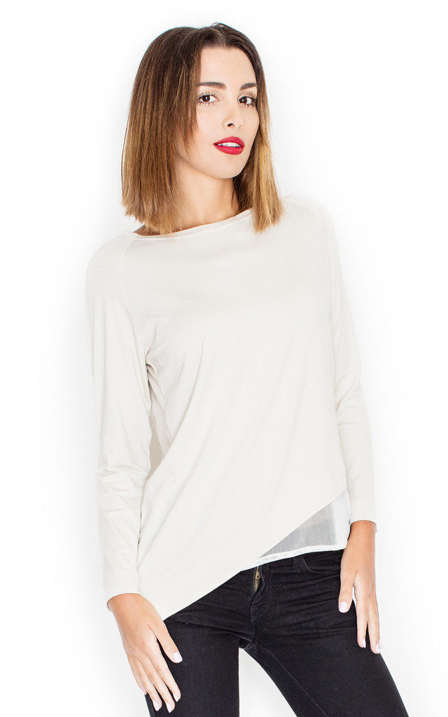 White Asymmetric Top with Black Mesh underlay by KATRUS