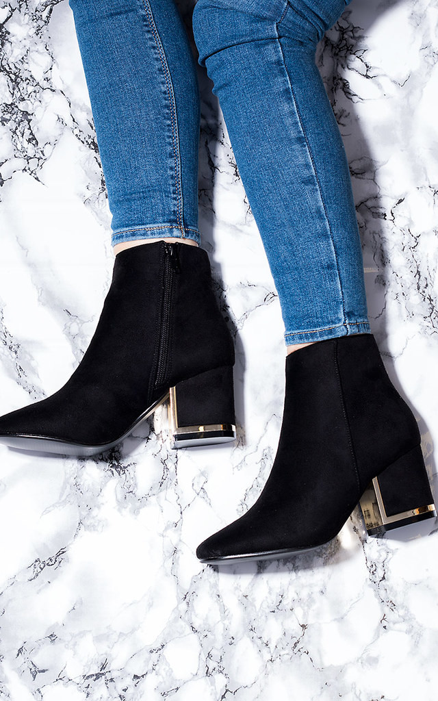HALO Block Heel Ankle Boots Shoes - Black Suede Style by SpyLoveBuy