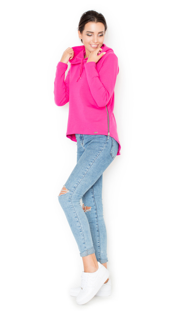Fuchsia Hoodie with Zip by KATRUS