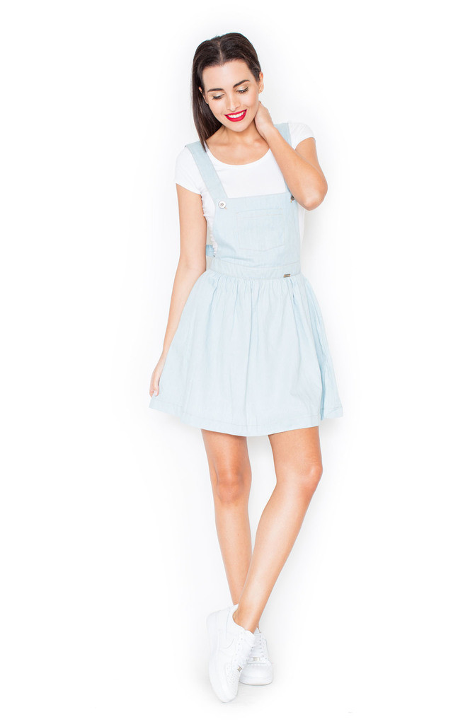 55fea55b1705 Light Blue Denim Dunagree Skater Dress by KATRUS