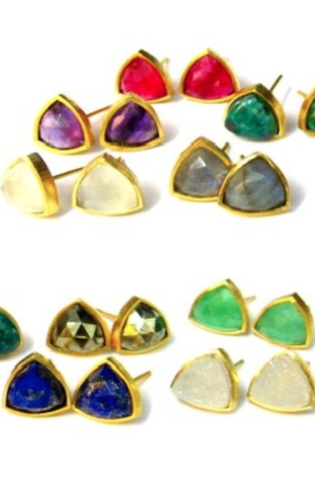Tria Gold Stud Earrings with Multicolour Gemstones by Taara Jewelry