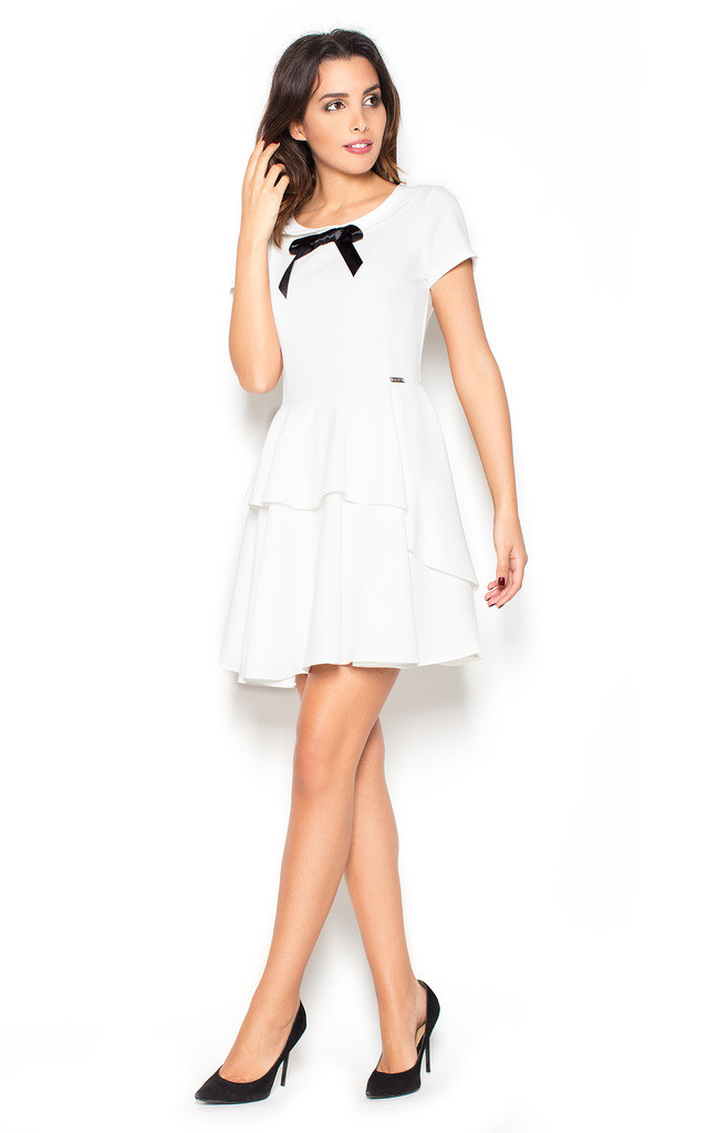 Tiered mini party dress in white by KATRUS