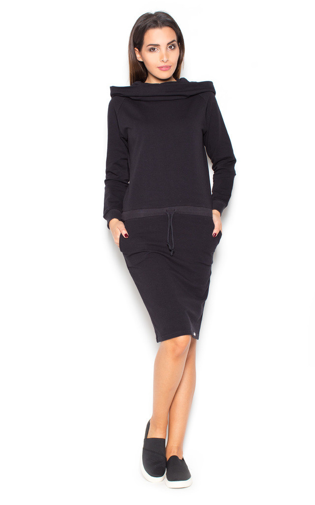 Black long sleeve boat neck dress with hood by KATRUS