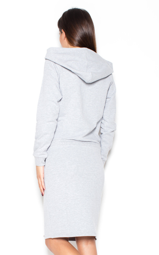 Grey long sleeve boat neck dress with hood by KATRUS