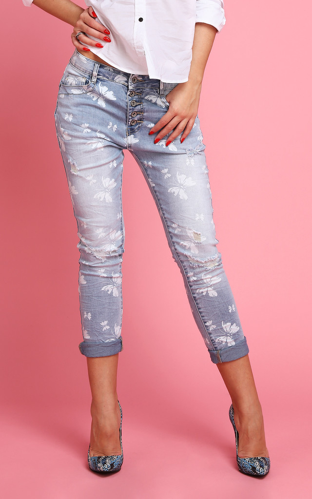 Butterfly Print Ripped Knee Jeans by Jezzelle
