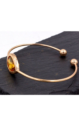 Pear Crystal Cuff in Gold Tone by Silver Rain