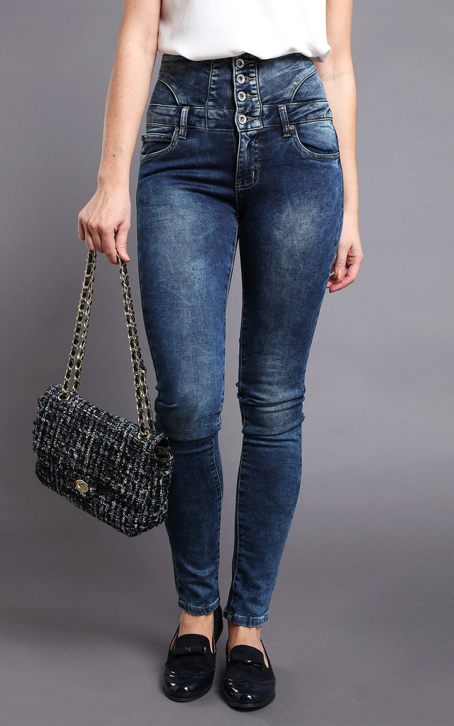 High-waisted Skinny Blue Jeans by Jezzelle