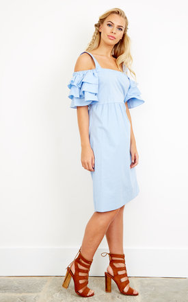 Baby blue cold shoulder shift dress with frill sleeve detail by Lilah Rose