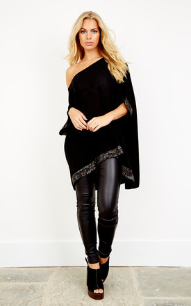 Black Sequin Hem And Sleeve Oversized Top by Bella and Blue Product photo
