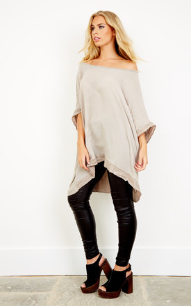 Oatmeal sequin hem and sleeve oversized top by Bella and Blue