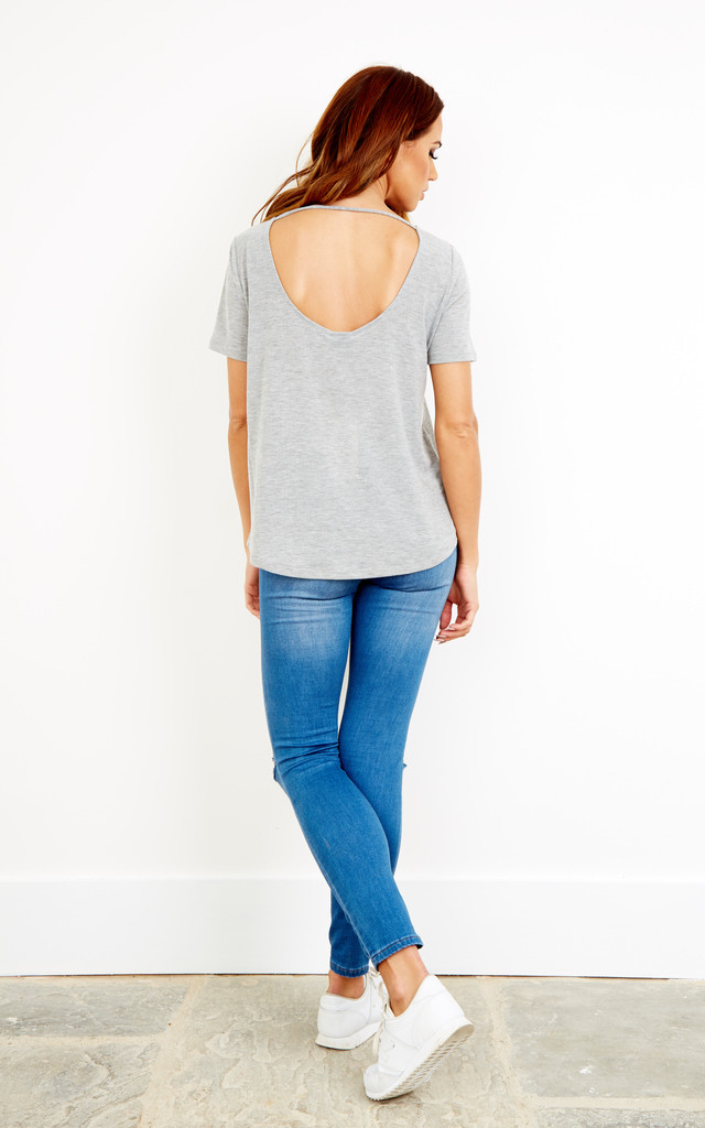 Grey Short Sleeved Low Back T Shirt by VILA