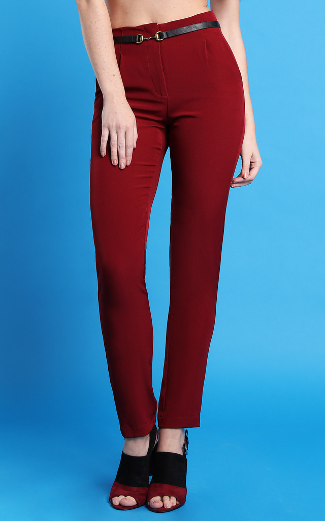 Smart Wine Trousers by Jezzelle