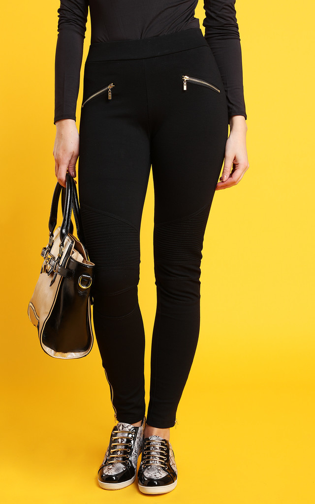 Gold Zips Black Treggings by Jezzelle