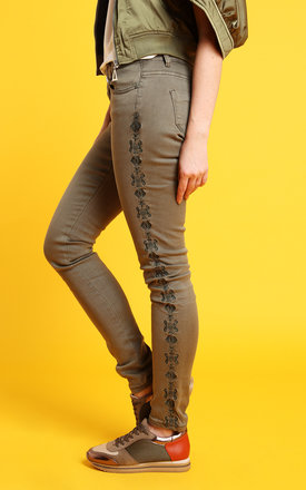 Embroidered Khaki Jeans by Jezzelle