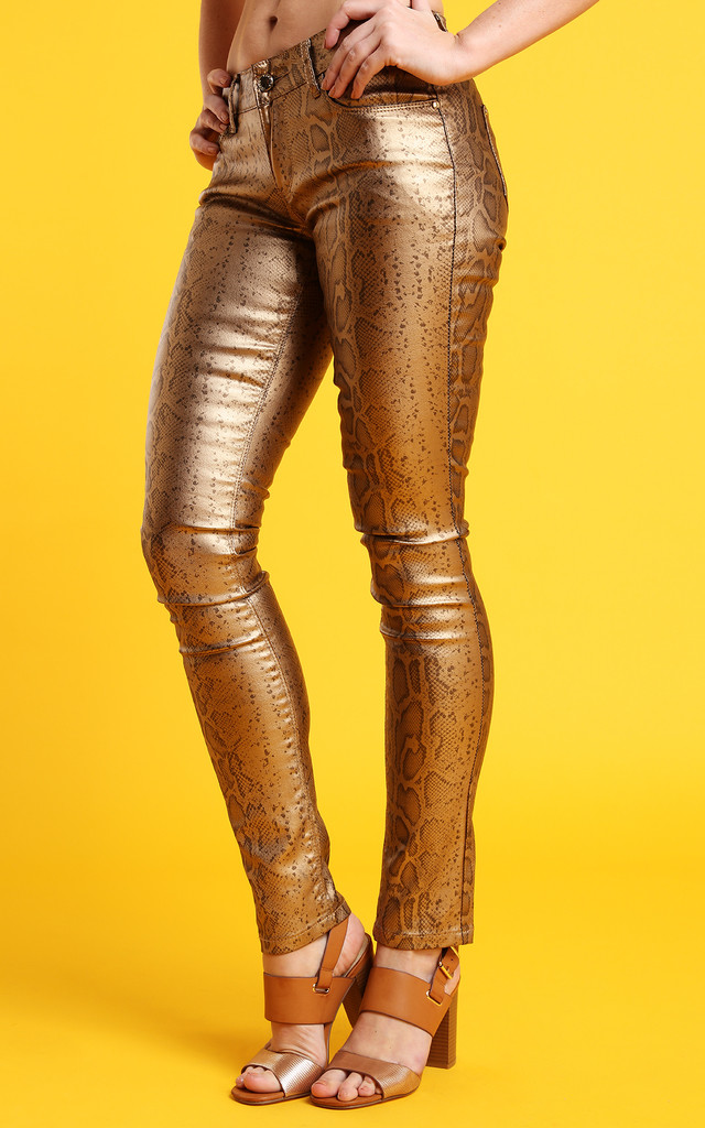 Gold Snake Print Faux Leather Trousers by Jezzelle