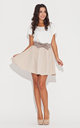 Flared Mini Skirt with Bow in Beige by KATRUS