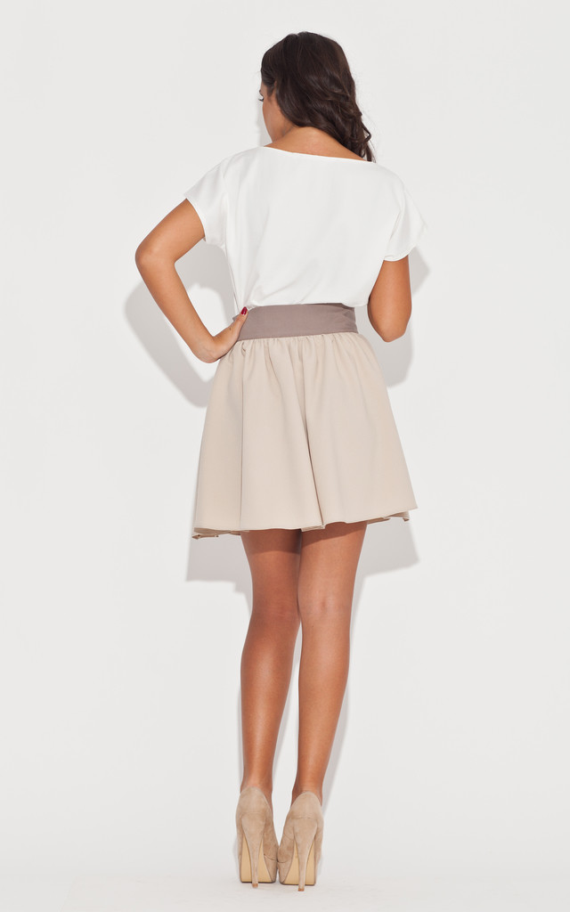 Beige bow flared skirt by KATRUS