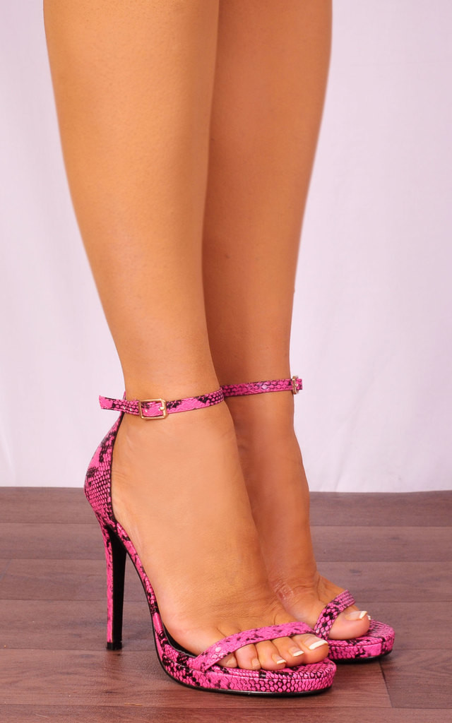 Fuchsia Pink Snake Print Barely There Strappy Sandals High Heels by Shoe Closet