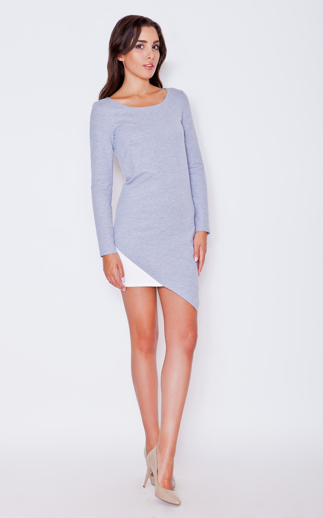 Grey-ecru asymmetrical dress by KATRUS
