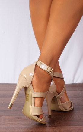 Nude Patent Stilettos Platforms Strappy Sandals High Heels by Shoe Closet