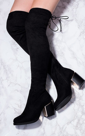 DYLAN Lace Up Block Heel Thigh High Boots - Black Suede Style by SpyLoveBuy