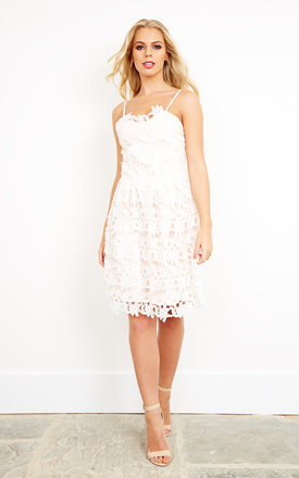 White Lace A Line Dress by Liquorish