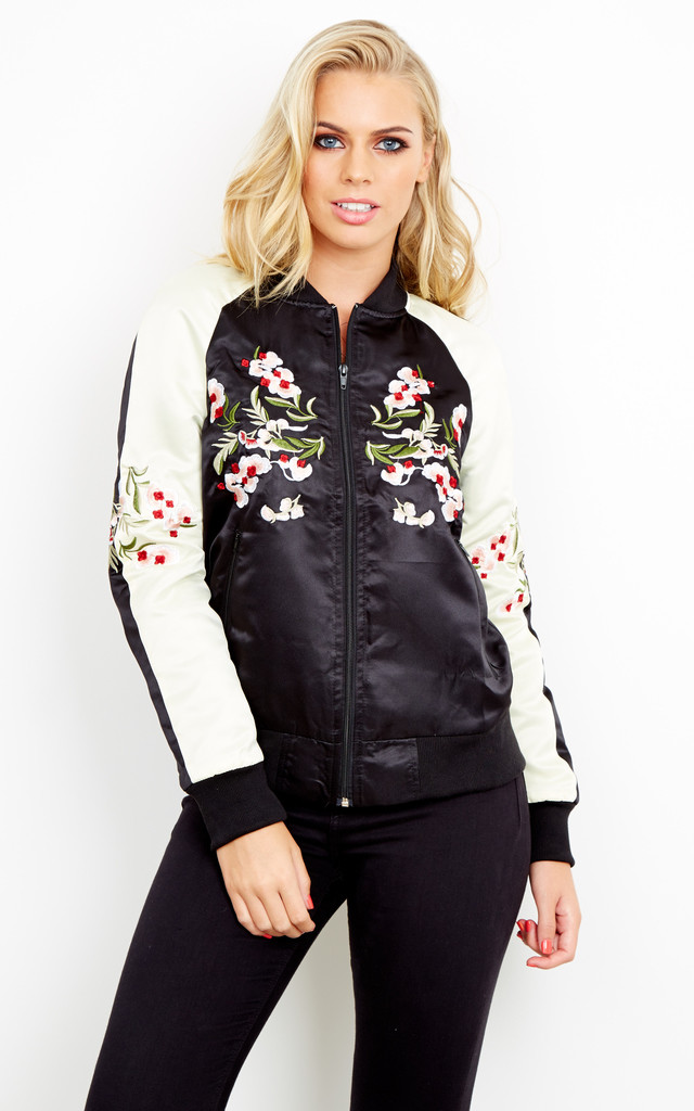Sateen Embroidered Bomber Jacket by Liquorish