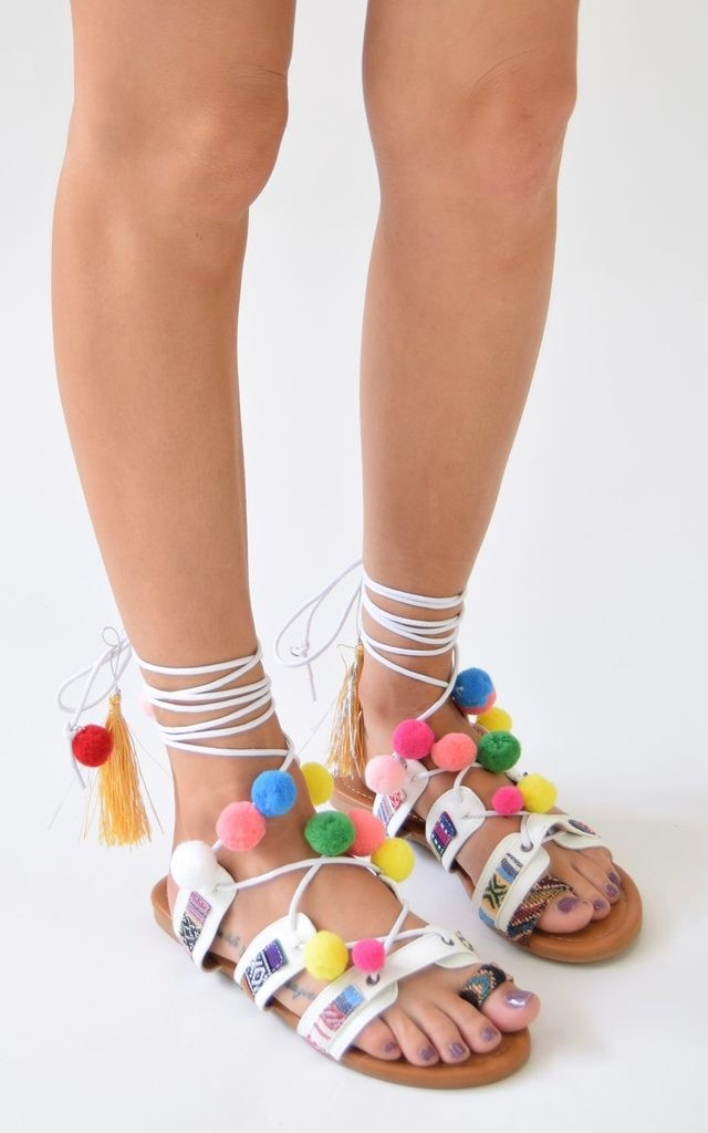 Lace Up Pom Pom Sandals - White by AJ | VOYAGE