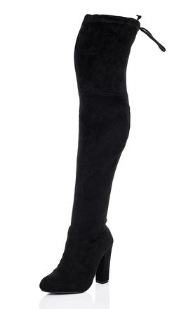 ZEEZEE Lace Up Block Heel Over Knee Tall Boots - Black Suede Style by SpyLoveBuy