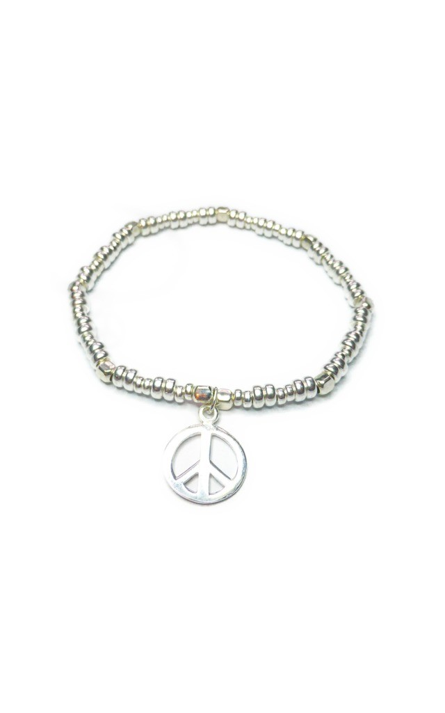 Sterling Silver Bolt Bracelet with Peace by Jacy & Jools
