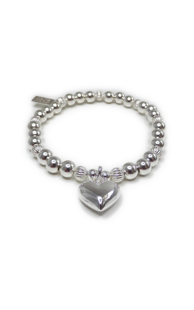 Chunky Fluted Ball Bracelet with Puffed Heart by Jacy & Jools