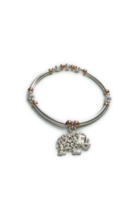 Sterling Silver Noodle Bracelet with Bali Elephant by Jacy & Jools
