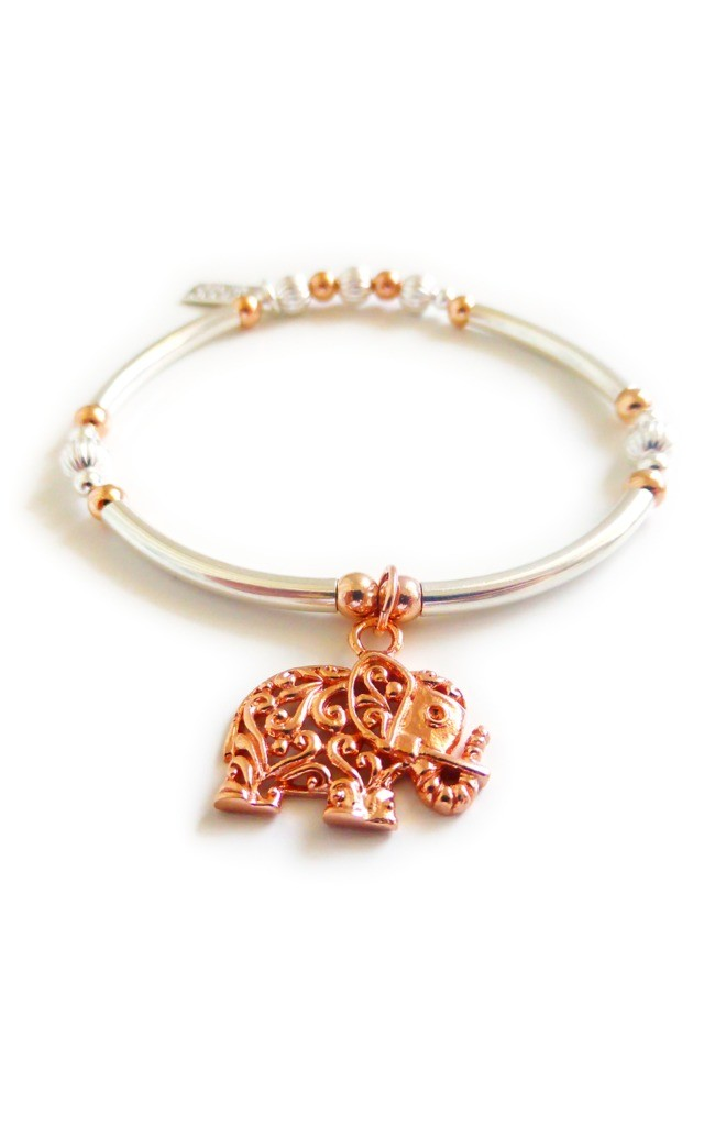 Sterling Silver Noodle Bracelet with Rose Gold Bali Elephant by Jacy & Jools