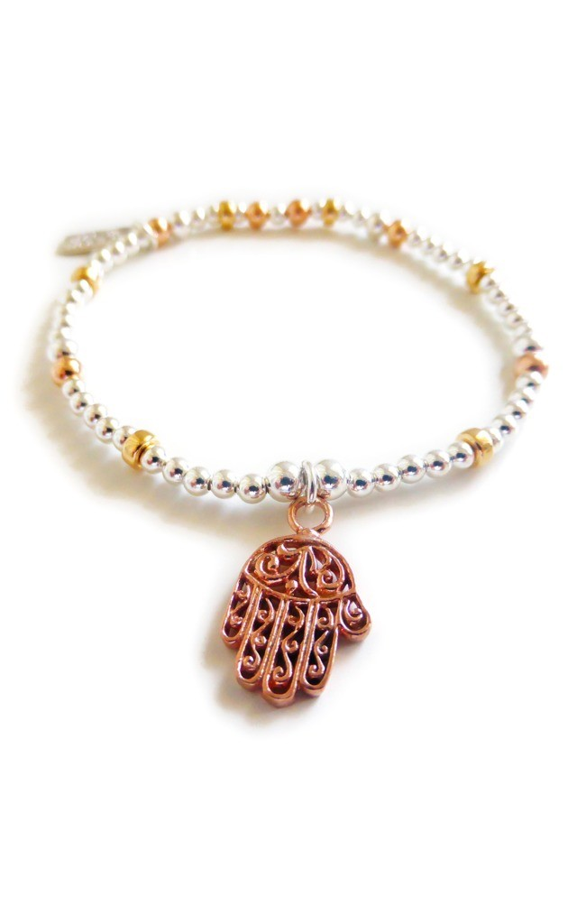 Sterling Silver & Mixed Metal Mini Bracelet with Hamsa by Jacy & Jools