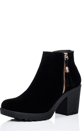 BUXTON Zip Cleated Sole Block Heel Ankle Boots Shoes - Black Suede Style by SpyLoveBuy