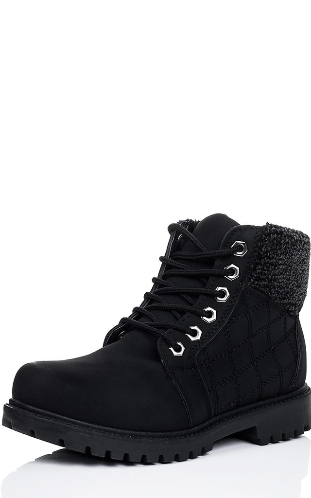 0e9a005488611 RILEY Lace Up Cleated Sole Flat Combat Worker Walking Ankle Boots Shoes - Black  Leather Style