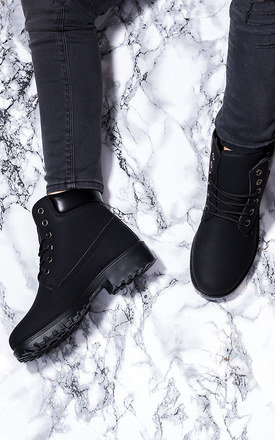MORGAN Lace Up Cleated Sole Flat Combat Walking Ankle Boots Shoes - Black Leather Style by SpyLoveBuy