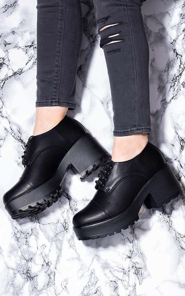 TIGER Block Heel Lace Up Cleated Sole Platform Ankle Boots - Black Leather Style by SpyLoveBuy