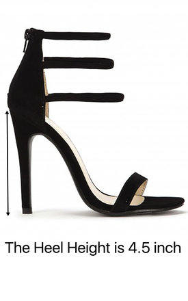 Black Barely There Ankle Strap Strappy Sandals Stilettos High Heels by Shoe Closet