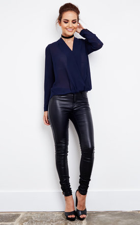 Navy Sheer Crossover Blouse by Glamorous Product photo