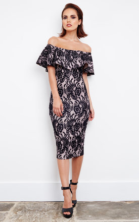 Nude off the shoulder midi dress with black lace ruffle detail by Lilah Rose