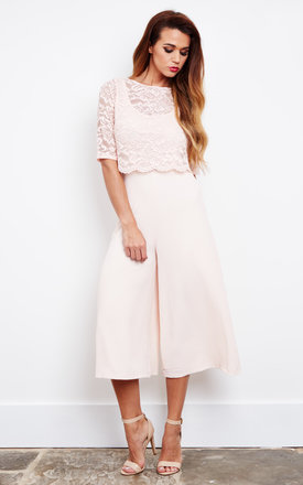 Blush lace top culotte jumpsuit by John Zack