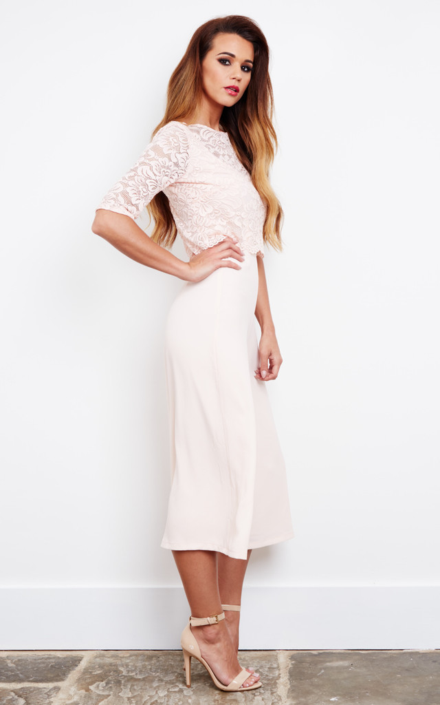 08970be8f402 Blush lace top culotte jumpsuit by John Zack