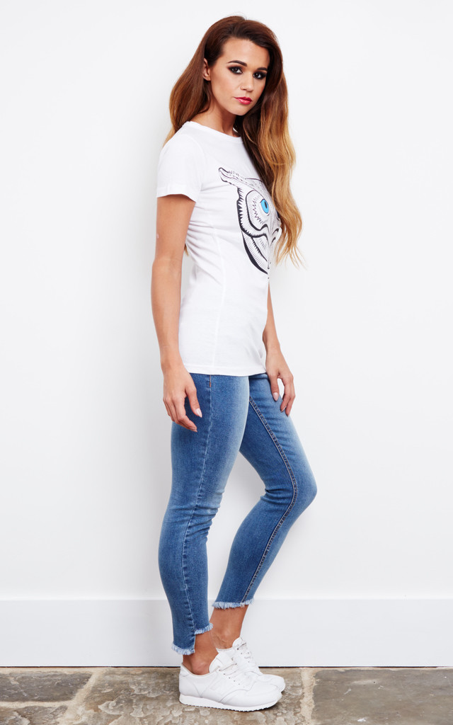 Owl graphic white tee by Top Threads