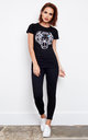 Tiger graphic black tee animal print black top by Top Threads