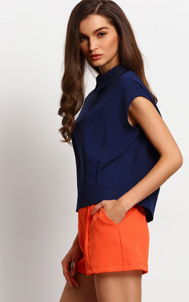 Capped Sleeve Collar Top by Oeuvre