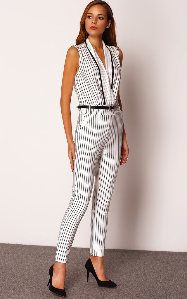 Belted Stripe Jumpsuit by Oeuvre