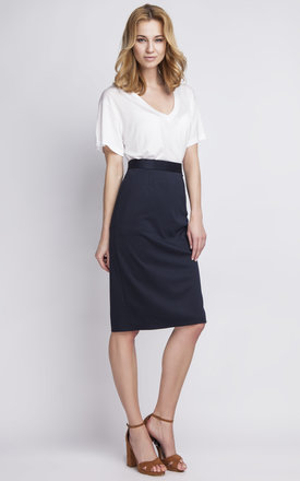 Navy pencil skirt with a fly by Lanti