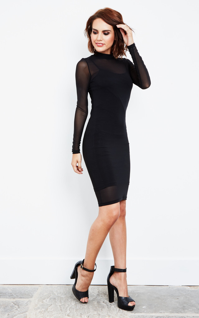 Long Sleeve Mesh Bodycon Dress With Slip by Noisy May